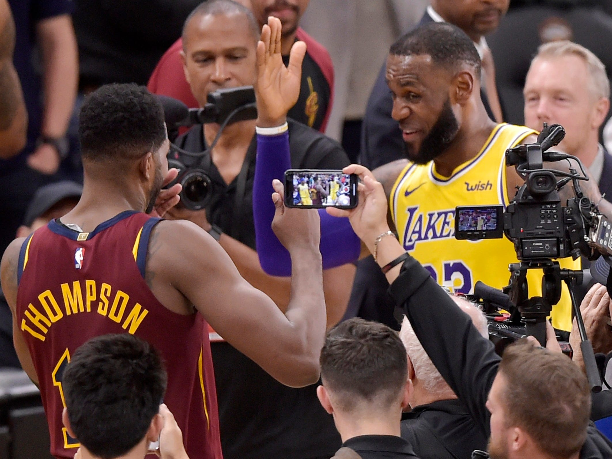 Nov. 21: LeBron James greets former Cavaliers teammate Tristan Thompson after returning to Cleveland for the first time as a member of the Lakers. James got a hero's welcome, then rallied past his old team for a 109-105 Lakers win.