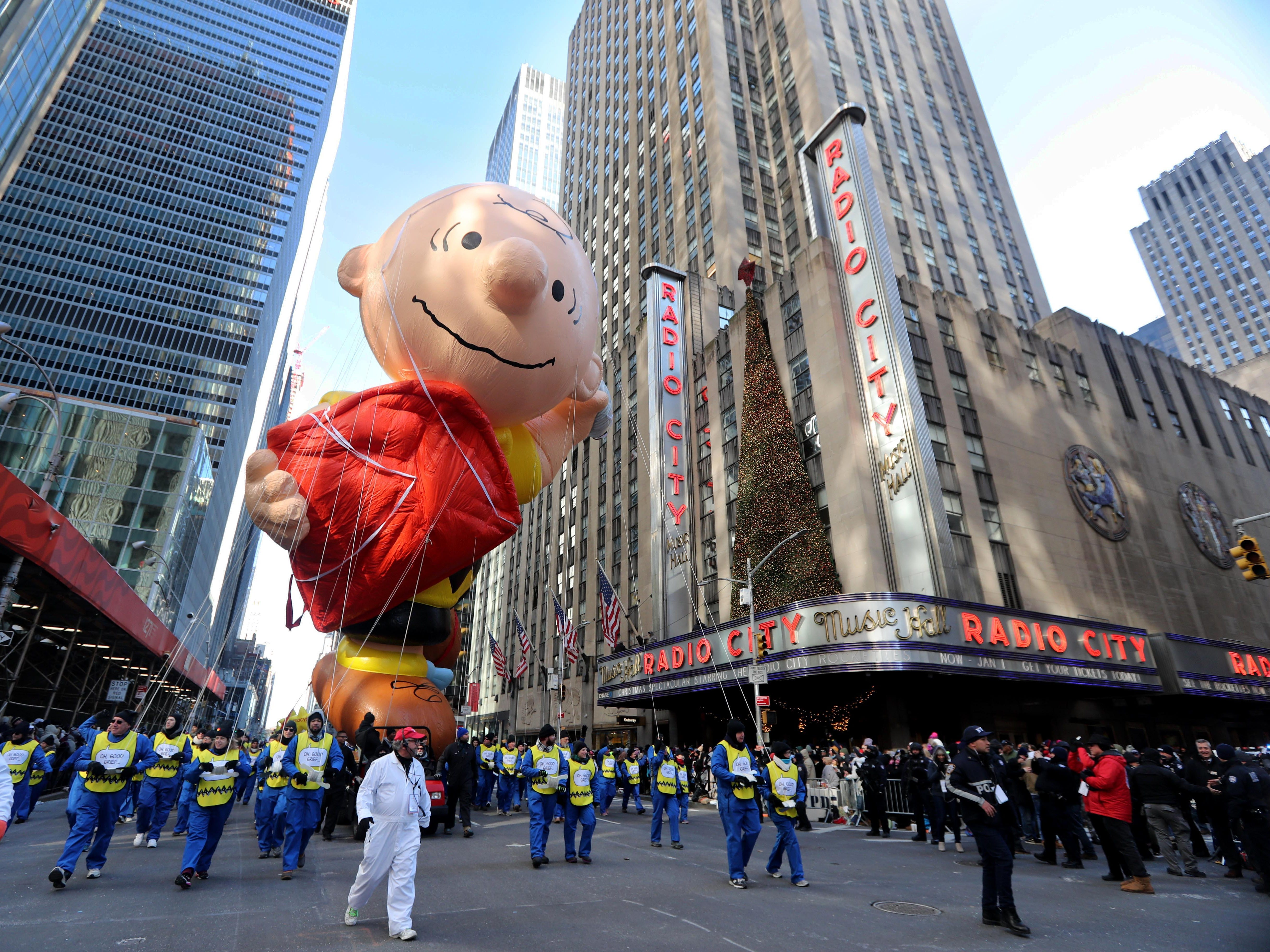 The Charlie Brown balloon makes its way down 6th Ave. in New York during the annual Macy's Thanksgiving Day Parade, Nov. 22, 2018.