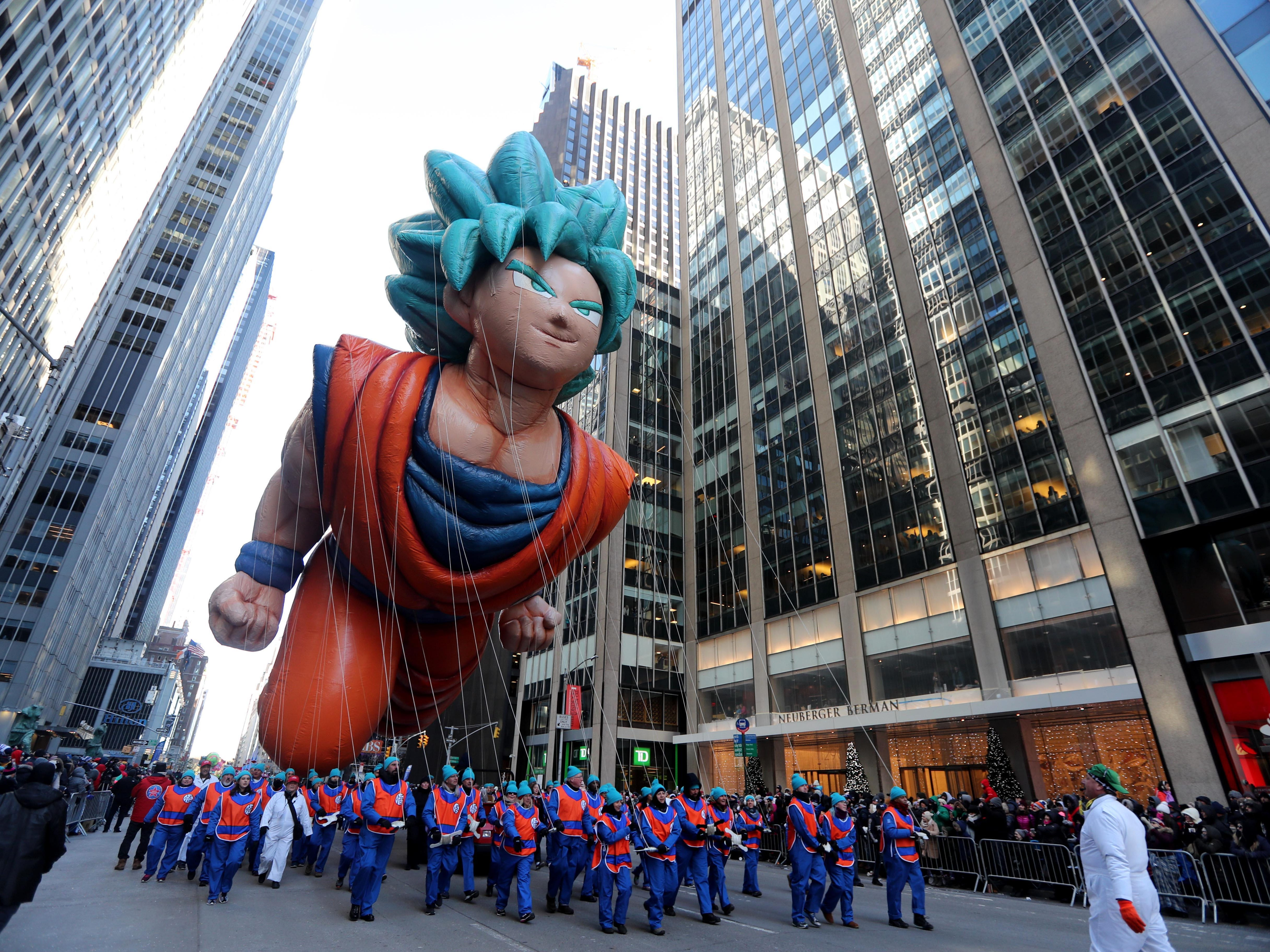 The Goku balloon makes its way down 6th Ave. in New York during the annual Macy's Thanksgiving Day Parade, Nov. 22, 2018.