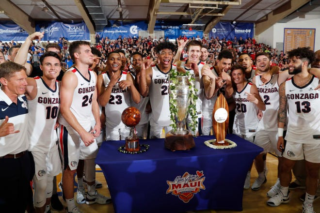 Gonzaga Bulldogs react to defeating the Duke Blue Devils in the championship game of the Maui Jim Maui Invitational.