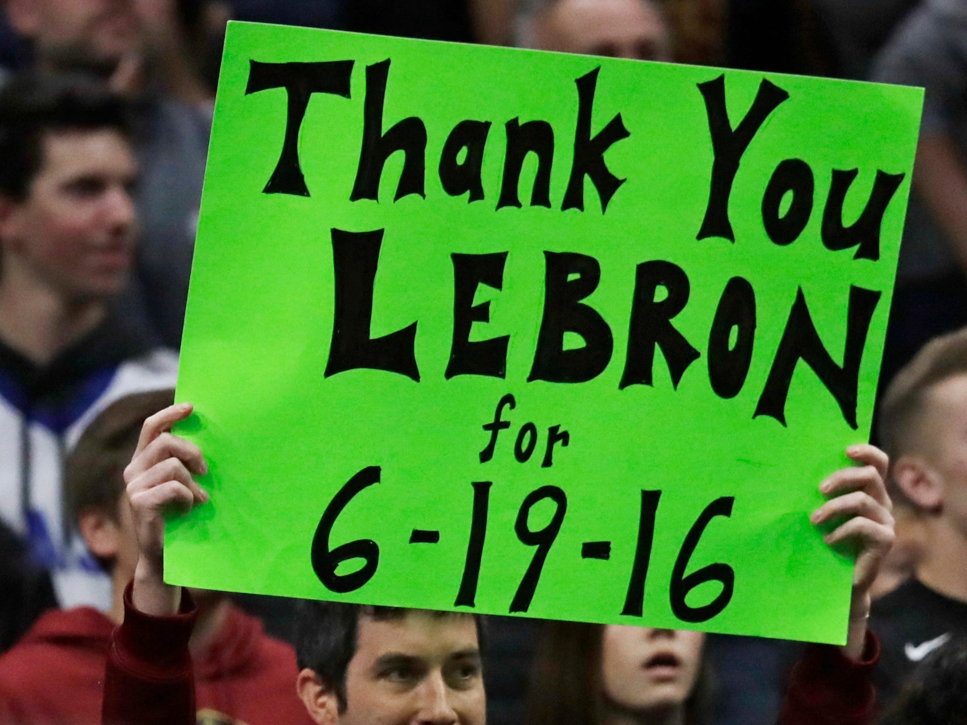 The Cleveland crowd showed its appreciation with signs and a standing ovation during introductions.