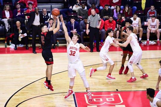 Pete Kiss shoots for Rutgers against Boston University.