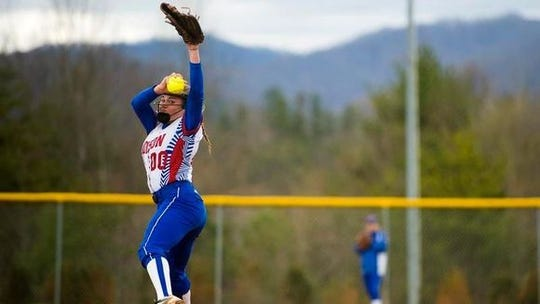 Savannah Rice winds up for a pitch.