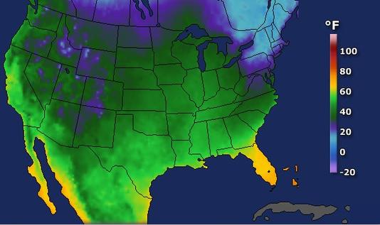 United States Low Temperatures, Friday, Nov. 23.