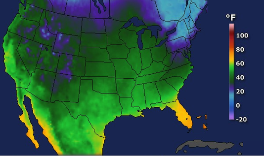United States Low Temperatures, Friday, Nov. 23.