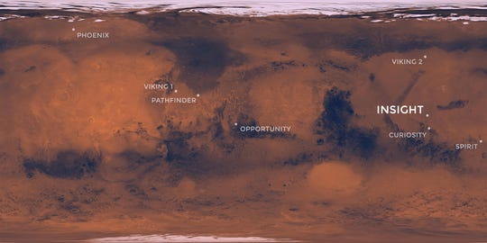 NASA's Insight mission is targeting a touchdown on Elysium Planitia, a flat-smooth plain just north of the equator that makes for the perfect location from which to study the deep Martian interior.