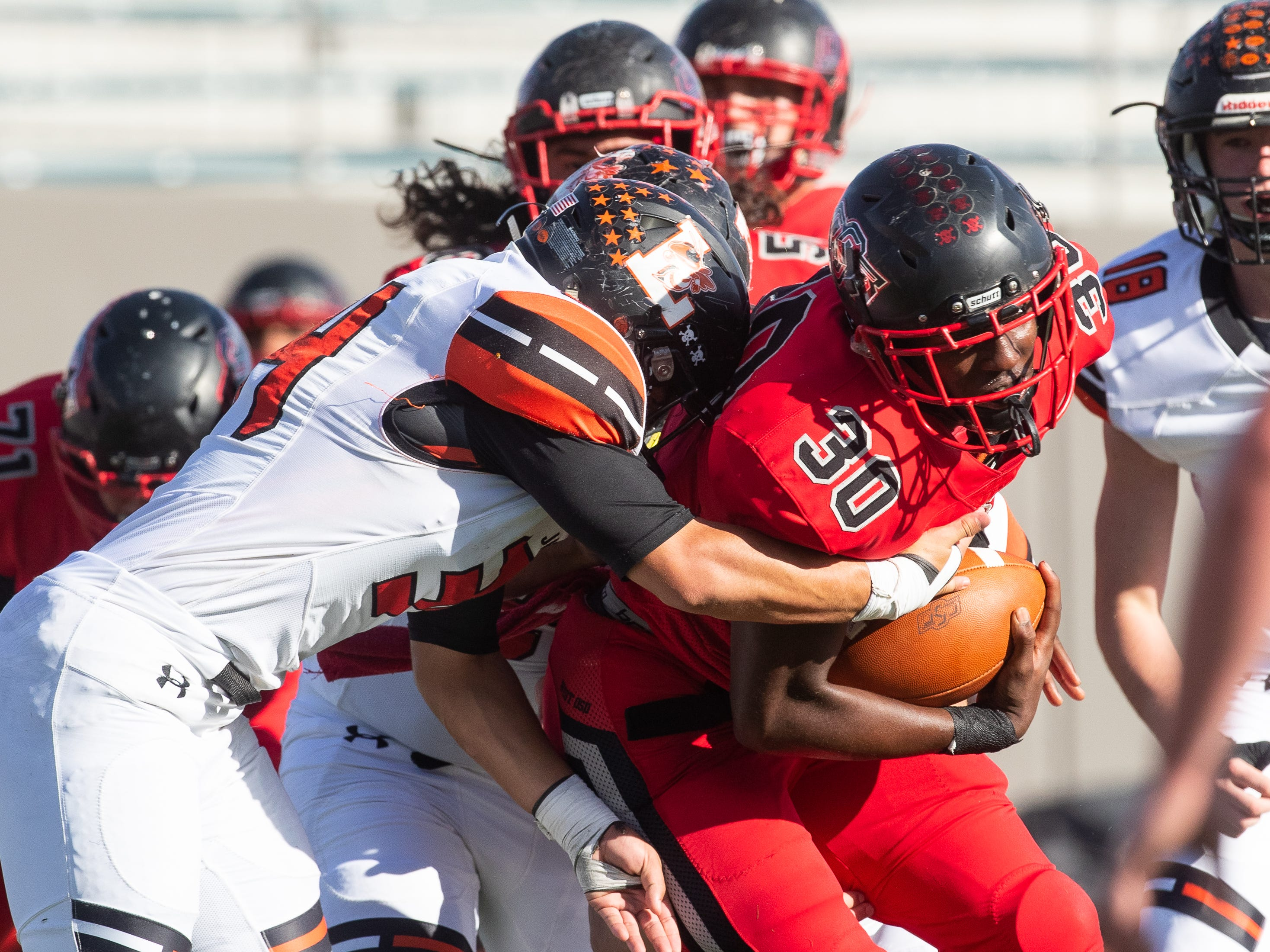West Oso wins 62-31 over Llano in a Class 4A Division II area round game at Alamo Stadium in San Antonio on Friday, Nov. 23, 2018.