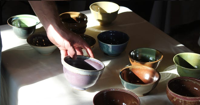 Handcrafted bowls are made by local artists and donated to Empty Bowls. The event, at Perkins Center for the Arts in Collingswood, supports arts scholarships and Food Bank of South Jersey.