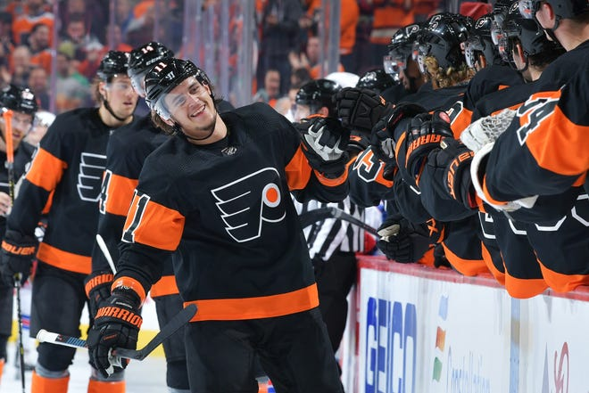 Travis Konecny had his first Gordie Howe hat trick with a goal, a fight and two assists Friday.