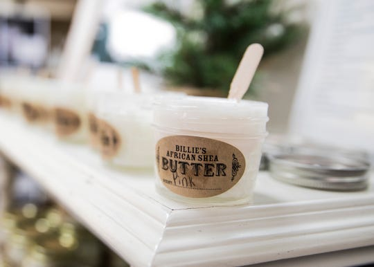 Several versions of Billie's African Shea Butter are available to purchase at Ivy's Home and Garden during the holiday season.