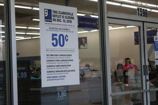 A sign announces the Dec. 15 closure of the Goodwill 99 cent outlet store on Fort Campbell Boulevard.