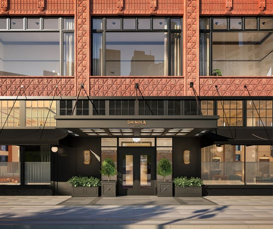 A rendering of the Shinola Hotel entrance on Woodward Avenue.