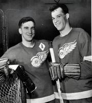 "Ted Lindsay, left, and Gordie Howe in the early 1950s when, with Sid Abel, they were known as the Detroit Red Wings' ""Production Line."""