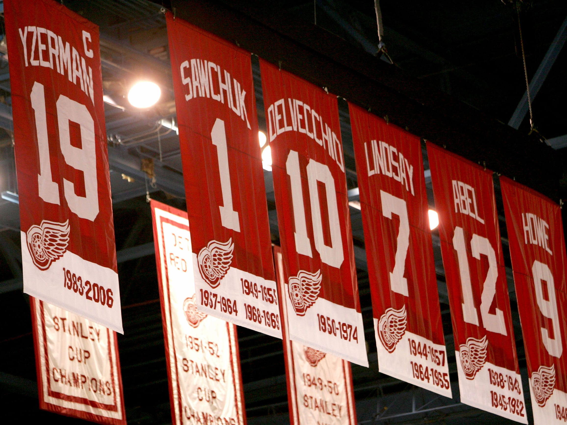 The retired jersey of Red Wings Ted Lindsay hangs in the rafters of Joe Louis Arena in Detroit.