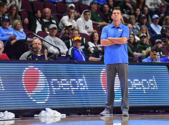 Head coach Steve Alford of the UCLA Bruins looks on during his team's game against the Michigan State Spartans during the 2018 Continental Tire Las Vegas Invitational basketball tournament at the Orleans Arena on November 22, 2018 in Las Vegas, Nevada.