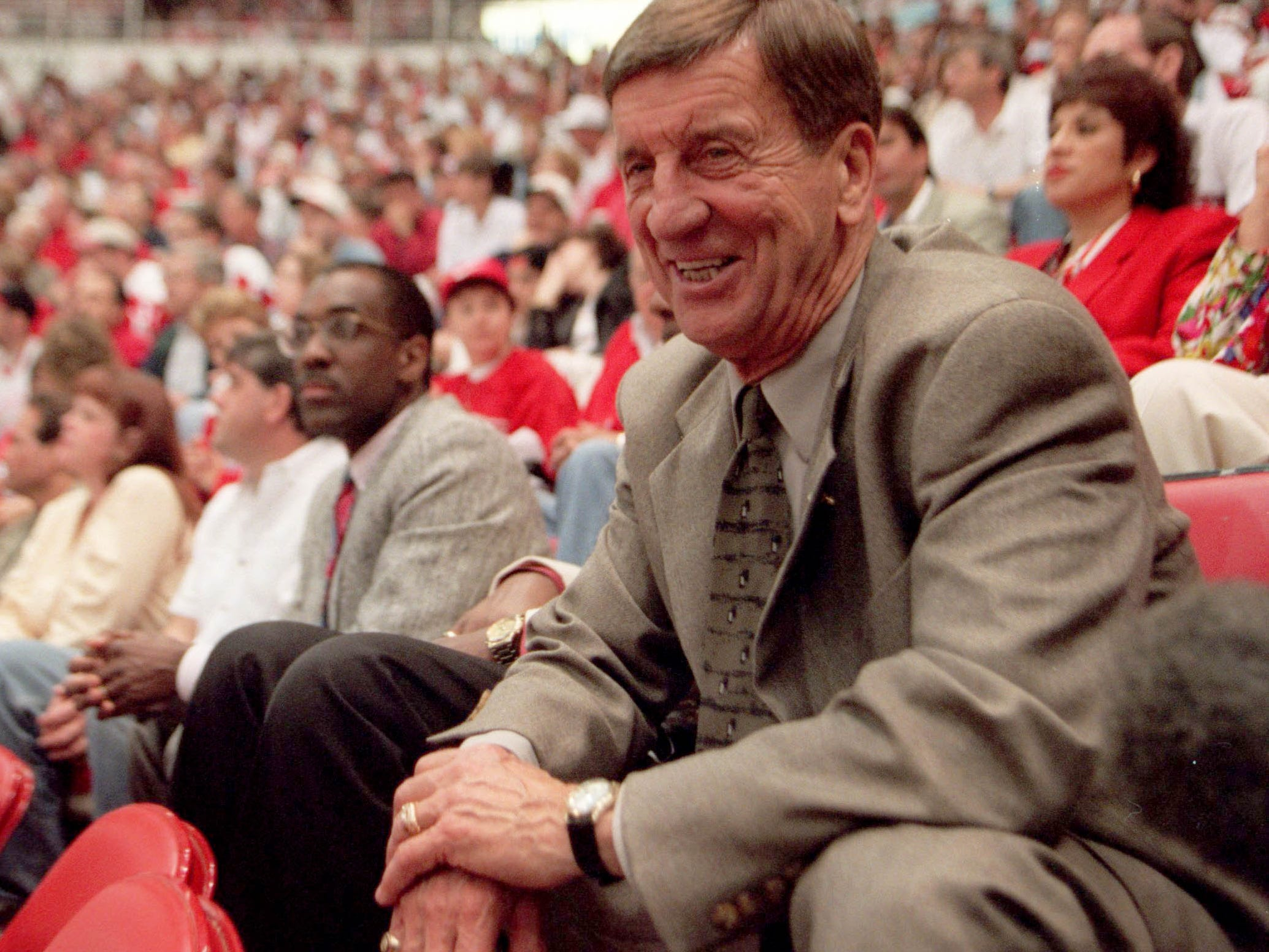 In June 1997, Ted Lindsay was one of the players on the  last Red WIngs team which won the Stanley Cup.  Lindsay was happy to see the cup  return to Detroit after 42 years,  following the sweep over the Philadelphia Flyers during the  Final at Joe Louis Arena.