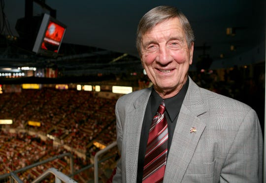 NHL Hall of Famer Ted Lindsay attends game 5 of the 2008 NHL Stanley Cup Finals between the Red Wings and the Pittsburgh Penguins at Joe Louis Arena on June 2, 2008 in Detroit.