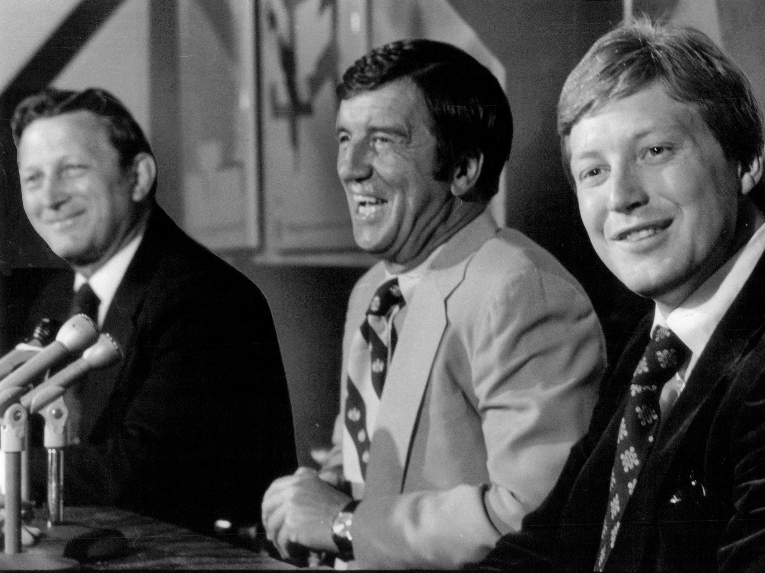 Red Wings coach Bobby Kromm, GM Ted Lindsay and Danny Labraaten in 1978.