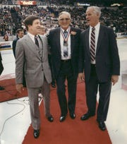 """Gordie Howe, right, was the only member of either """"Production Line"""" not to take a turn running the Red Wings. Ted Lindsay, left, Sid Abel, center, and Alex Delvecchio, not pictured, all had their times."""