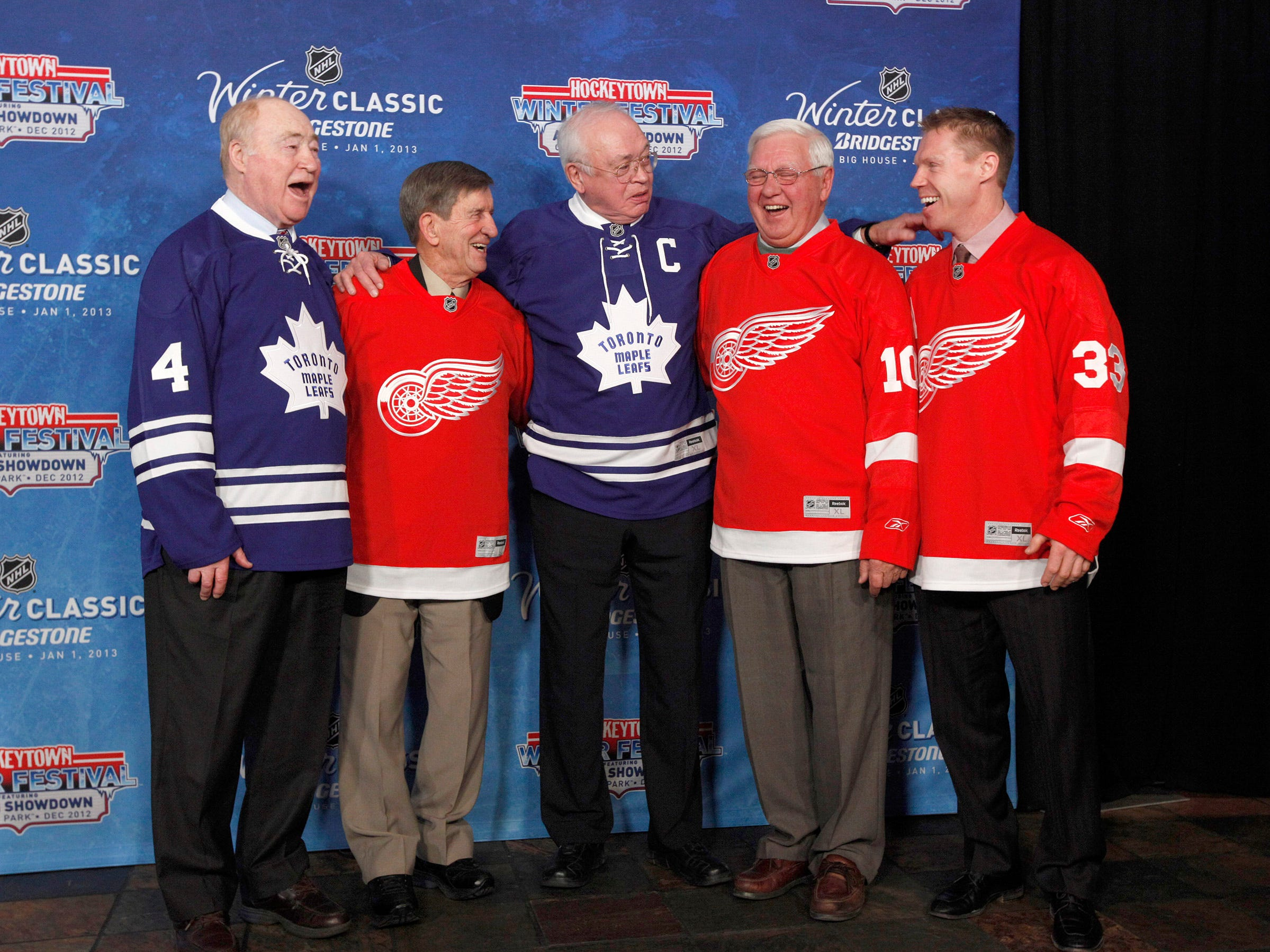 NHL alumni from left, Red Kelly, Ted Lindsay, George Armstrong, Alex Delvecchio, and Kris Draper during the announcement of the NHL Winter Classic hockey game at Comerica Park  in Detroit in February 2012. The Toronto Maple Leafs will play the Detroit Red Wings at Michigan Stadium in Ann Arbor on Jan. 1, 2013.