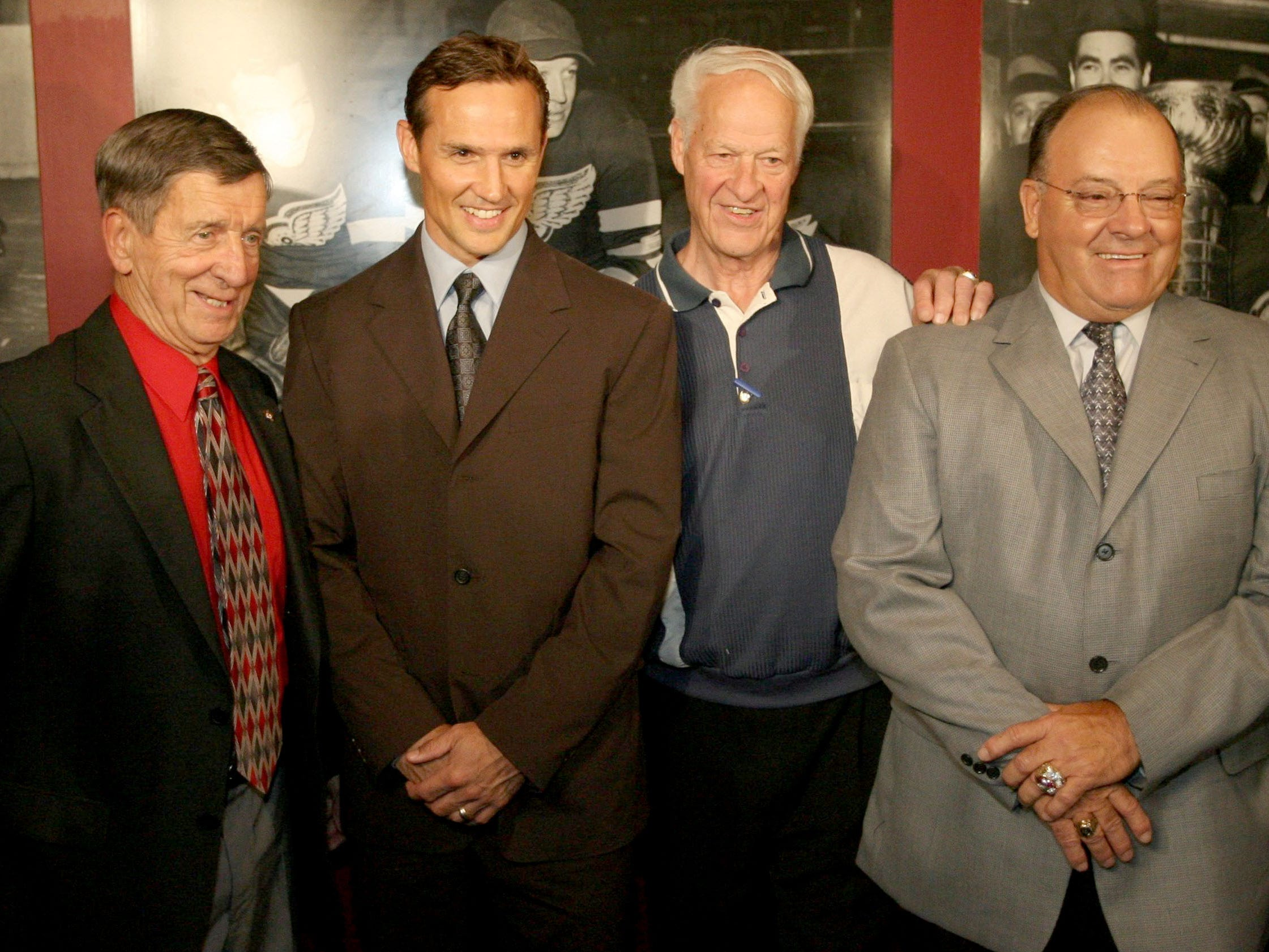 Red Wings Steve Yzerman announces his retirement on Monday, July 3, 2006. Yzerman poses with former Red Wing players Ted Lindsay, Gordie Howe and former head coach Scotty Bowman.
