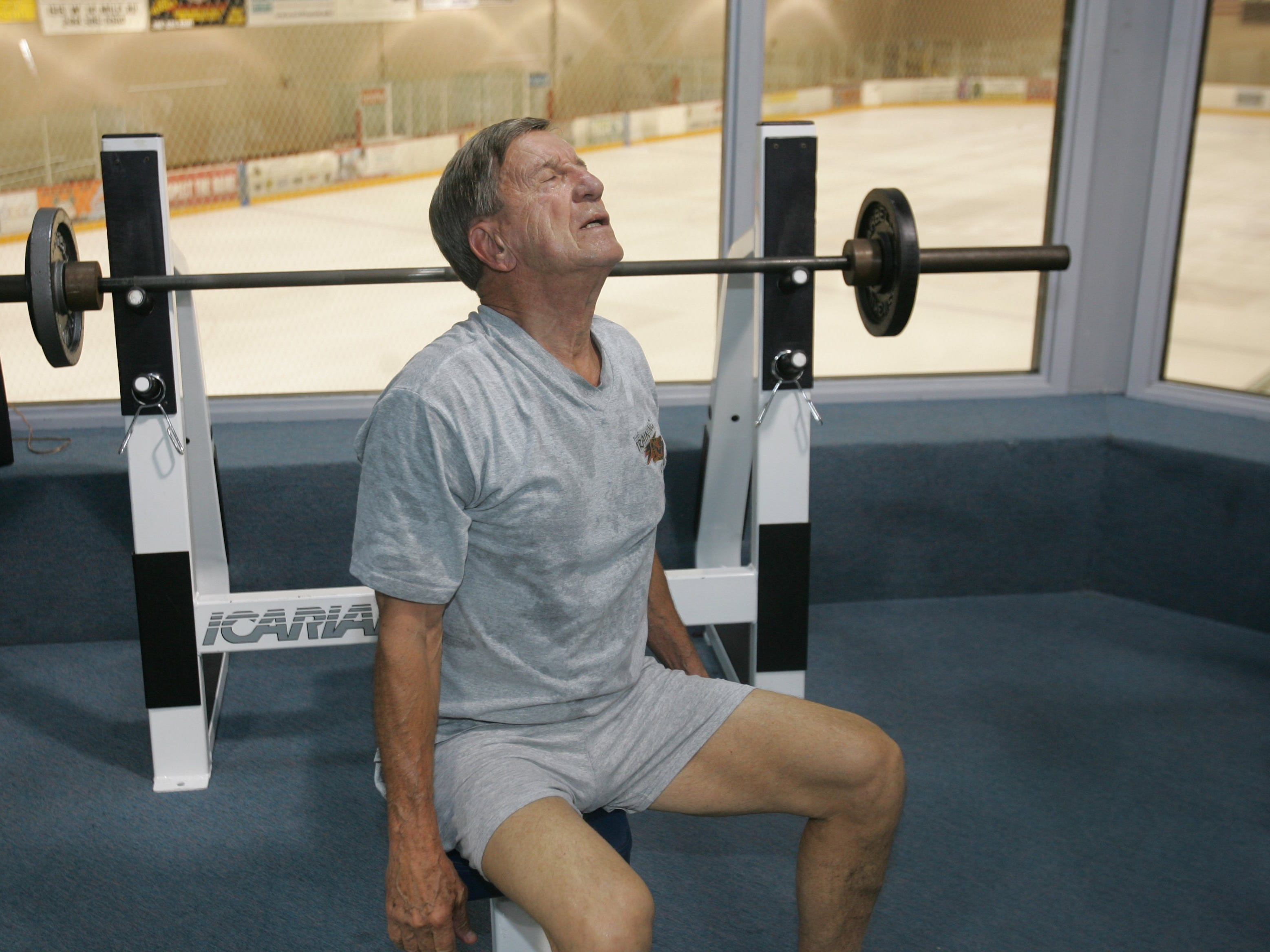 Former Red Wing captain and Hall of Famer Ted Lindsay is 80 years old and he still works out three days a week to stay in shape on Friday, September 16, 2005 at the Troy Sports Center.
