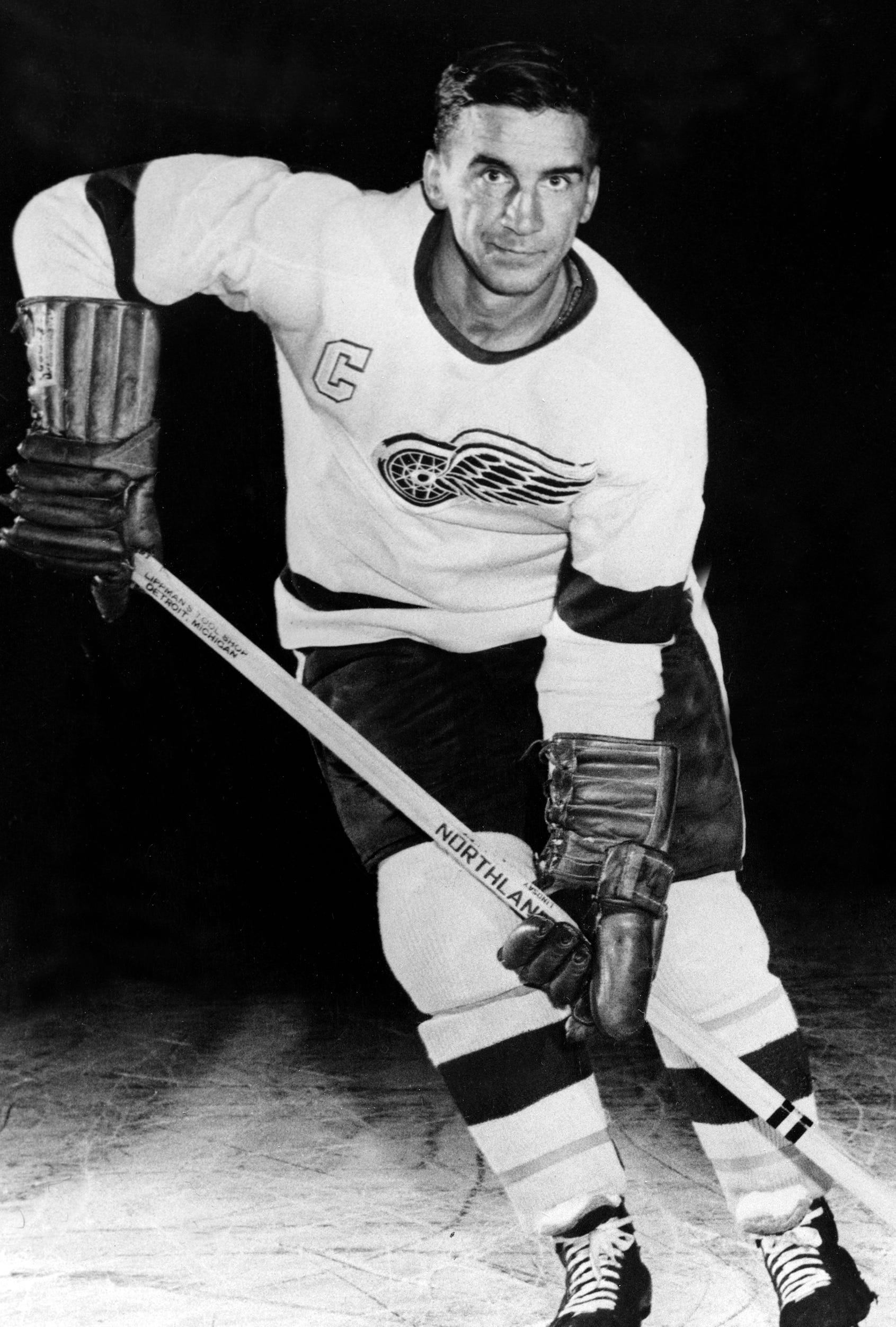 Ted Lindsay, captain of the Detroit Red Wings, is shown in action in 1956.