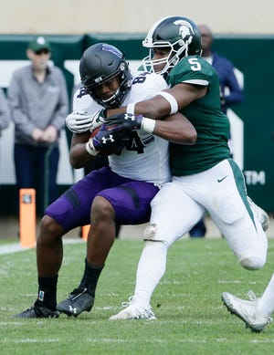 Michigan State's Andrew Dowell (5) will be one of several seniors playing in his final home game at Spartan Stadium this weekend.