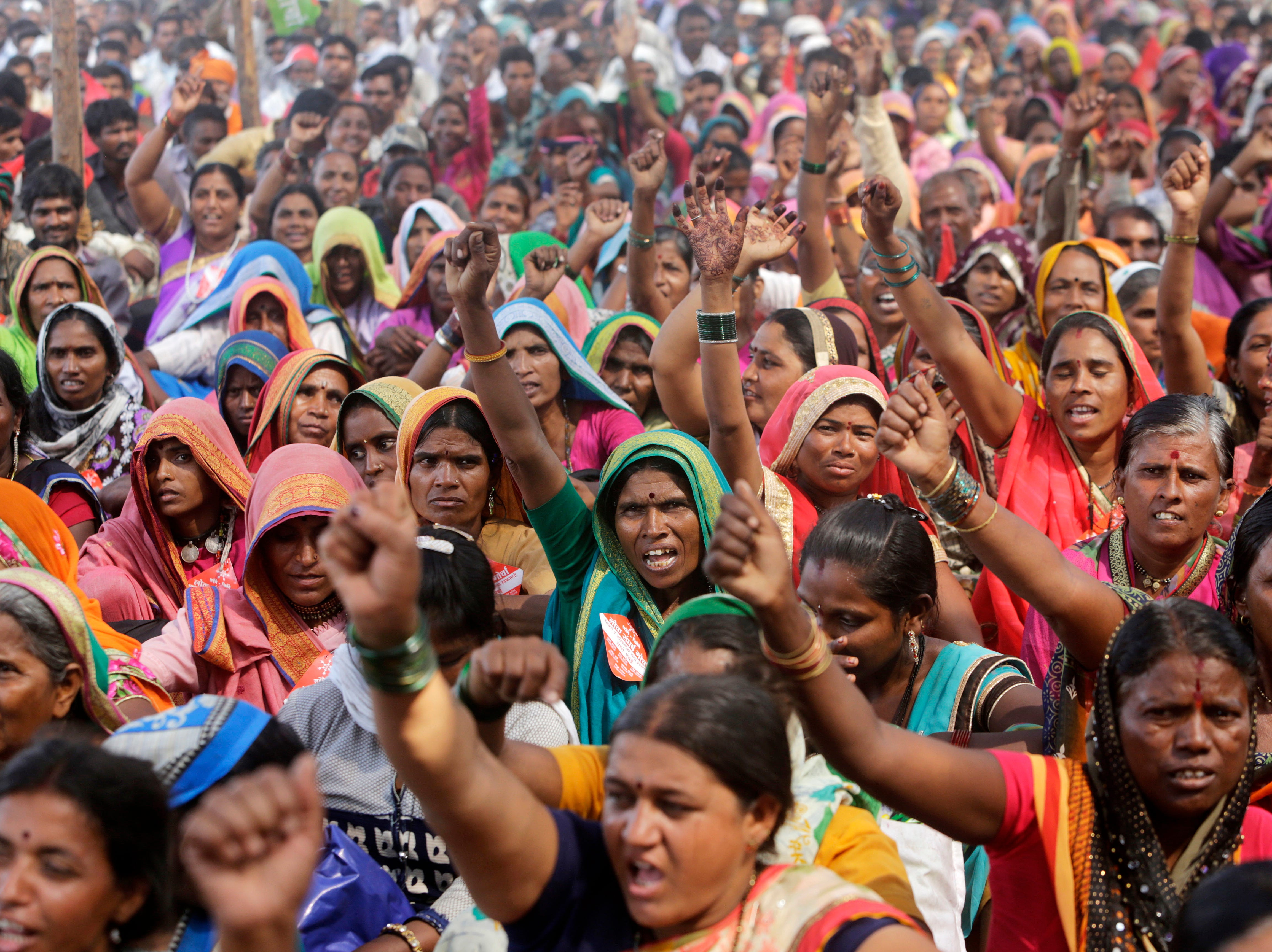 Members of Lok Sangharsh Morcha participate in a protest in Mumbai, India, Thursday, Nov. 22, 2018. The farmers made several demands including loan waivers, drought compensation and transfer of forest right to tribals.