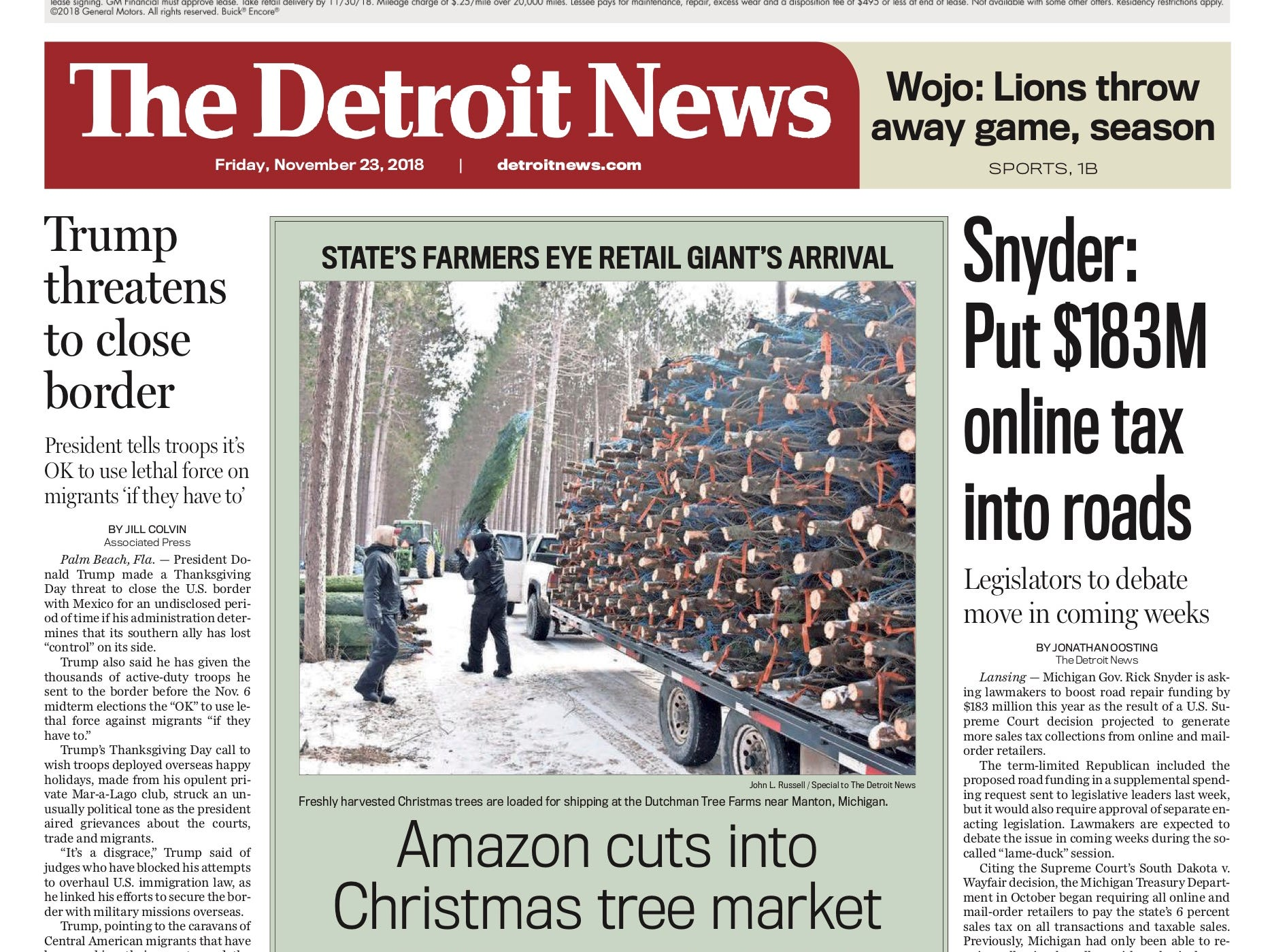 The front page of the Detroit News on November 23, 2018.