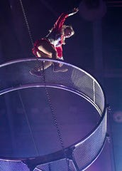 Annaliesa Nock performs on the aerial wheel during the 85th annual Hadi Shrine Circus at the Evansville Ford Center Friday, November 23, 2018.