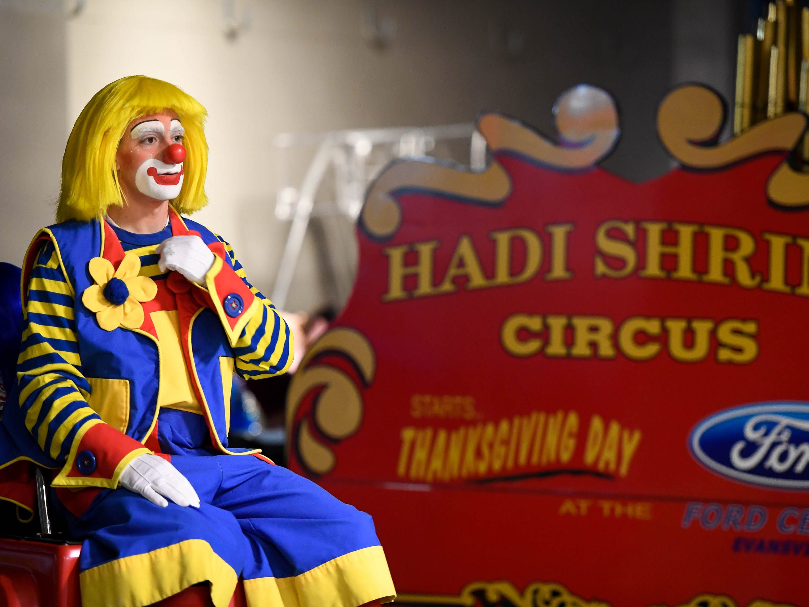 Ditzo the Clown spends a little quite time preparing in the Ford Center tunnel before performing in the 85th annual Hadi Shrine Circus Friday, November 23, 2018.