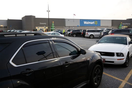Walmart has a lot of cars in the parking lot around 7 a.m., but there's still plenty of parking.