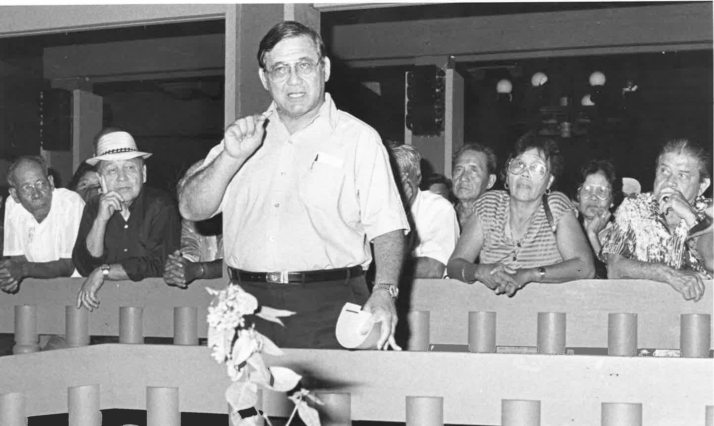 George Eustaquio speaks at a public event in this 1984 photo.