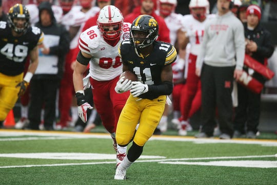 Michael Ojemudia snared one of his three career interceptions last season against Nebraska. The cornerback hopes to have much more in store for his senior season with the Iowa Hawkeyes.