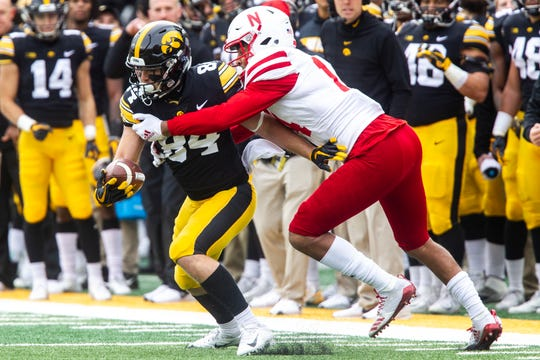 Nick Easley, left, racked up 52 catches for 494 yards in his senior year with the Hawkeyes, often proving to be a clutch option on third down.