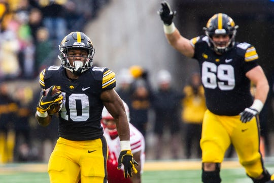 Iowa running back Mekhi Sargent runs for a season-best 32-yard gain in Friday's win against Nebraska.