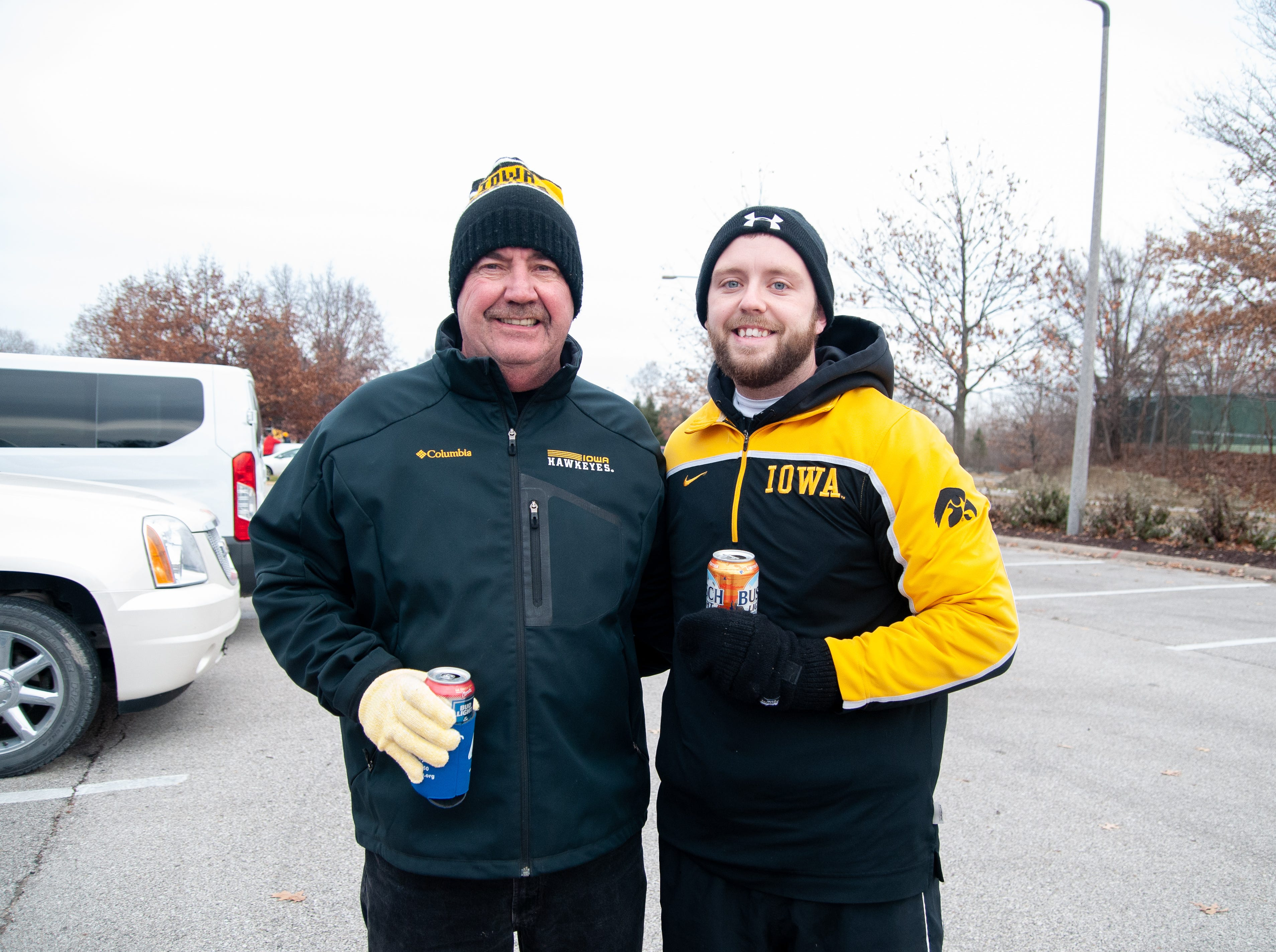 Patrick, left, and Kurt Macavoy, of Denver, Friday, Nov. 23, 2018, while tailgating before the Iowa game against Nebraska in Iowa City.
