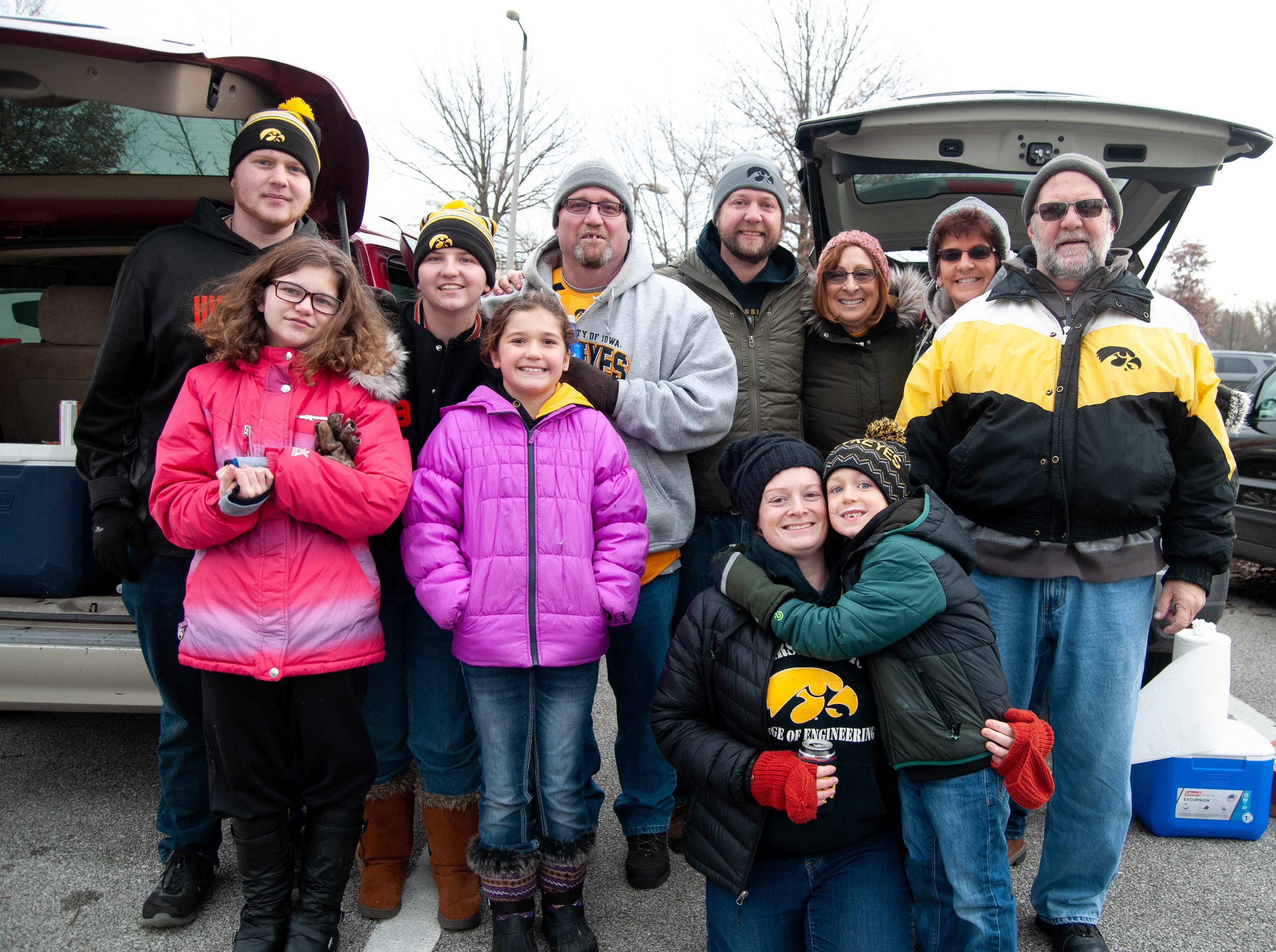 The Carr family, of Washington, Friday, Nov. 23, 2018, while tailgating before the Iowa game against Nebraska in Iowa City.