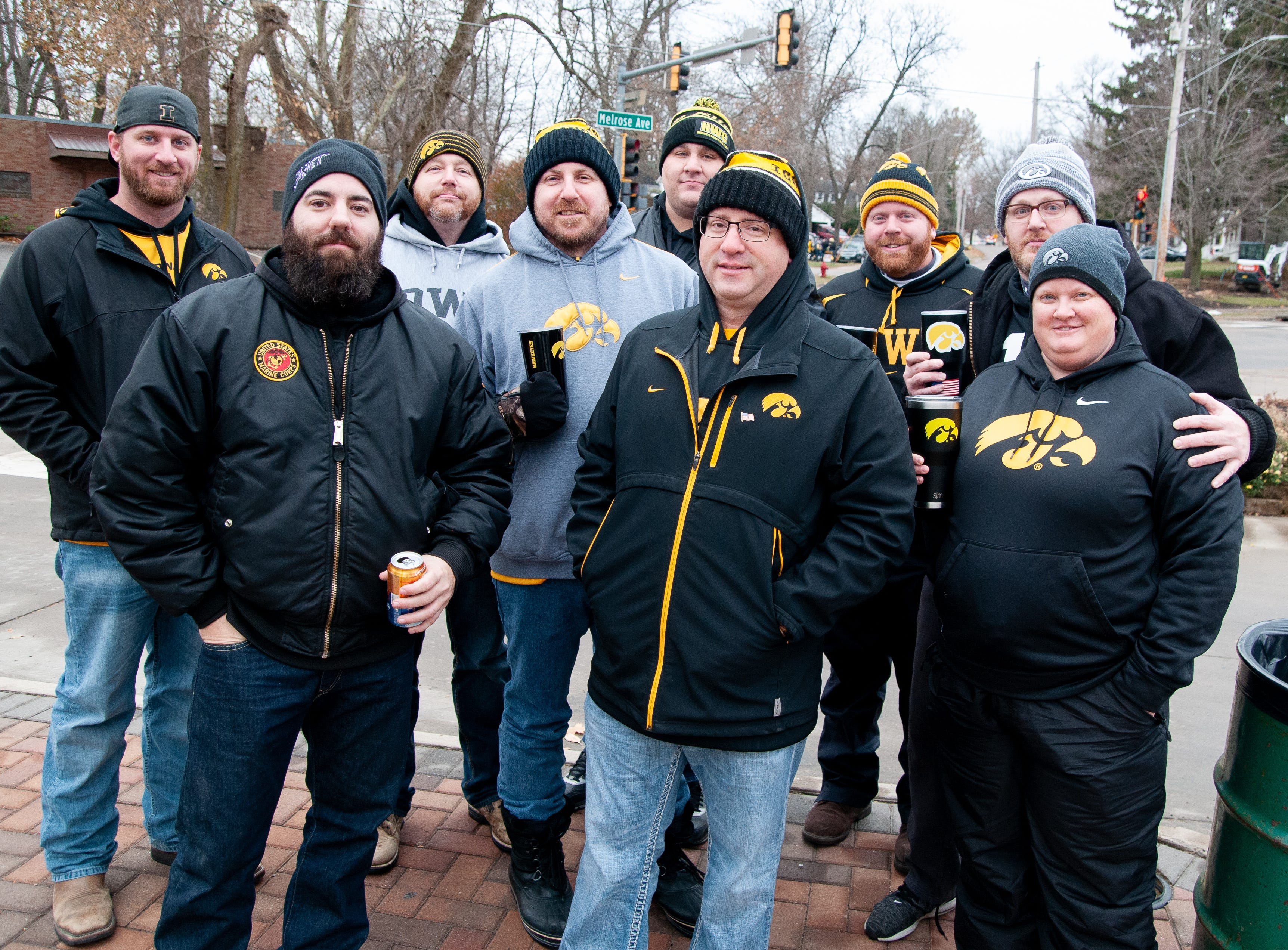 The Melrose Avenue Players Club, of Waterloo, San Antonio and Omaha, Friday, Nov. 23, 2018, while tailgating before the Iowa game against Nebraska in Iowa City.