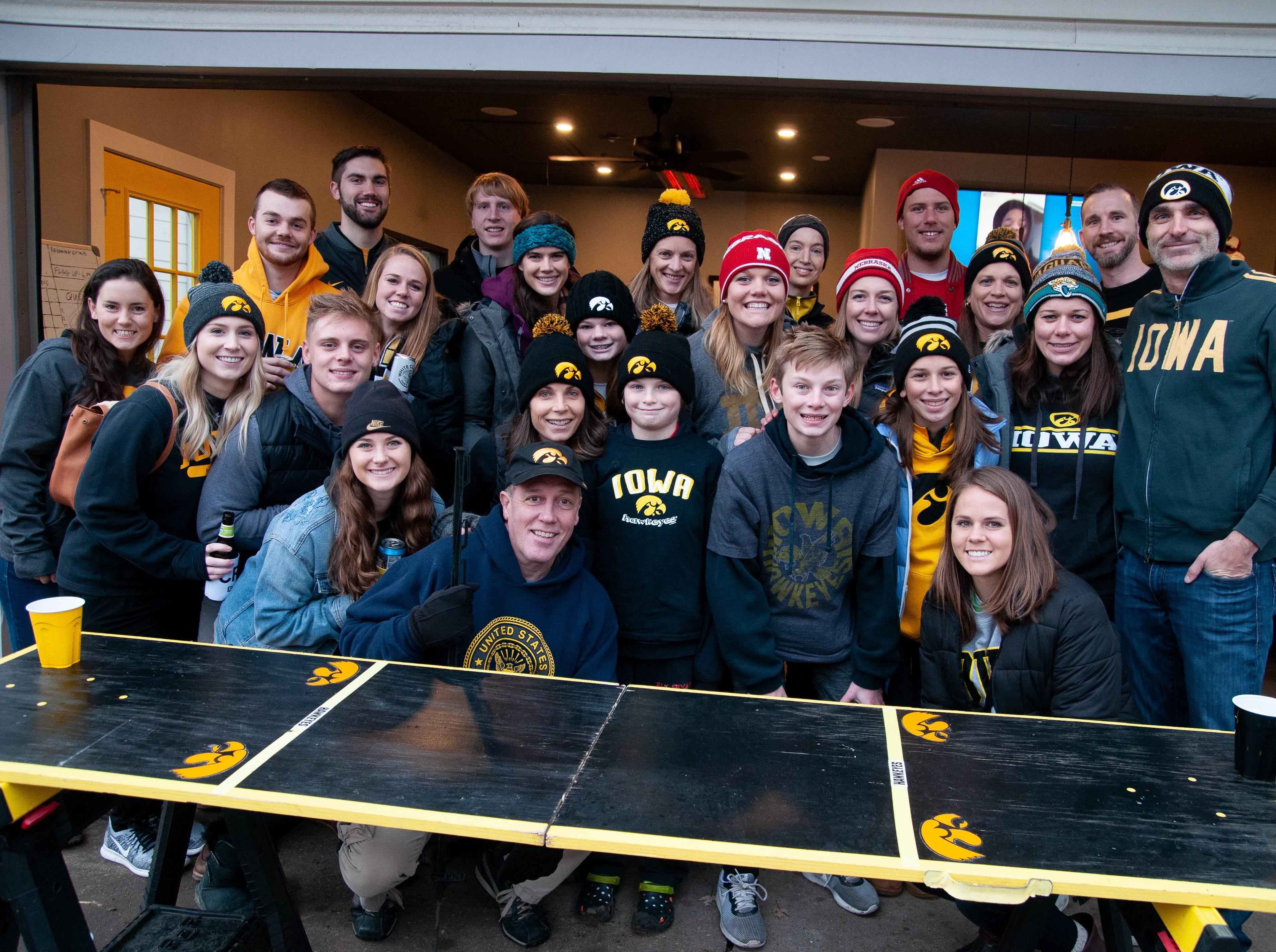 Pete Peraud's 1145 Melrose Tailgate, of Coralville, Friday, Nov. 23, 2018, while tailgating before the Iowa game against Nebraska in Iowa City.