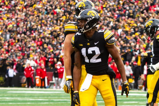Iowa wide receiver Brandon Smith celebrates his touchdown catch against Nebraska on Nov. 23. Smith caught 25 passes for 328 yards as a sophomore, and could be the Hawkeyes' leading returning receiver next season.