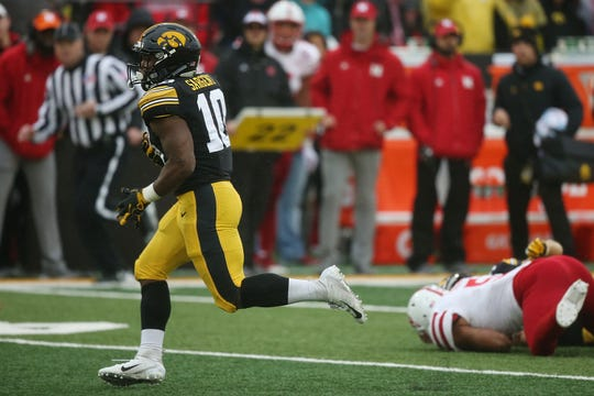 """Iowa running back Mekhi Sargent had his finest day against Nebraska last season, piling up 173 yards on the ground. That earned him a spot atop the depth chart this summer, but he knows it's earned him nothing else. """"My plan is to outwork the hardest worker,"""" he said."""