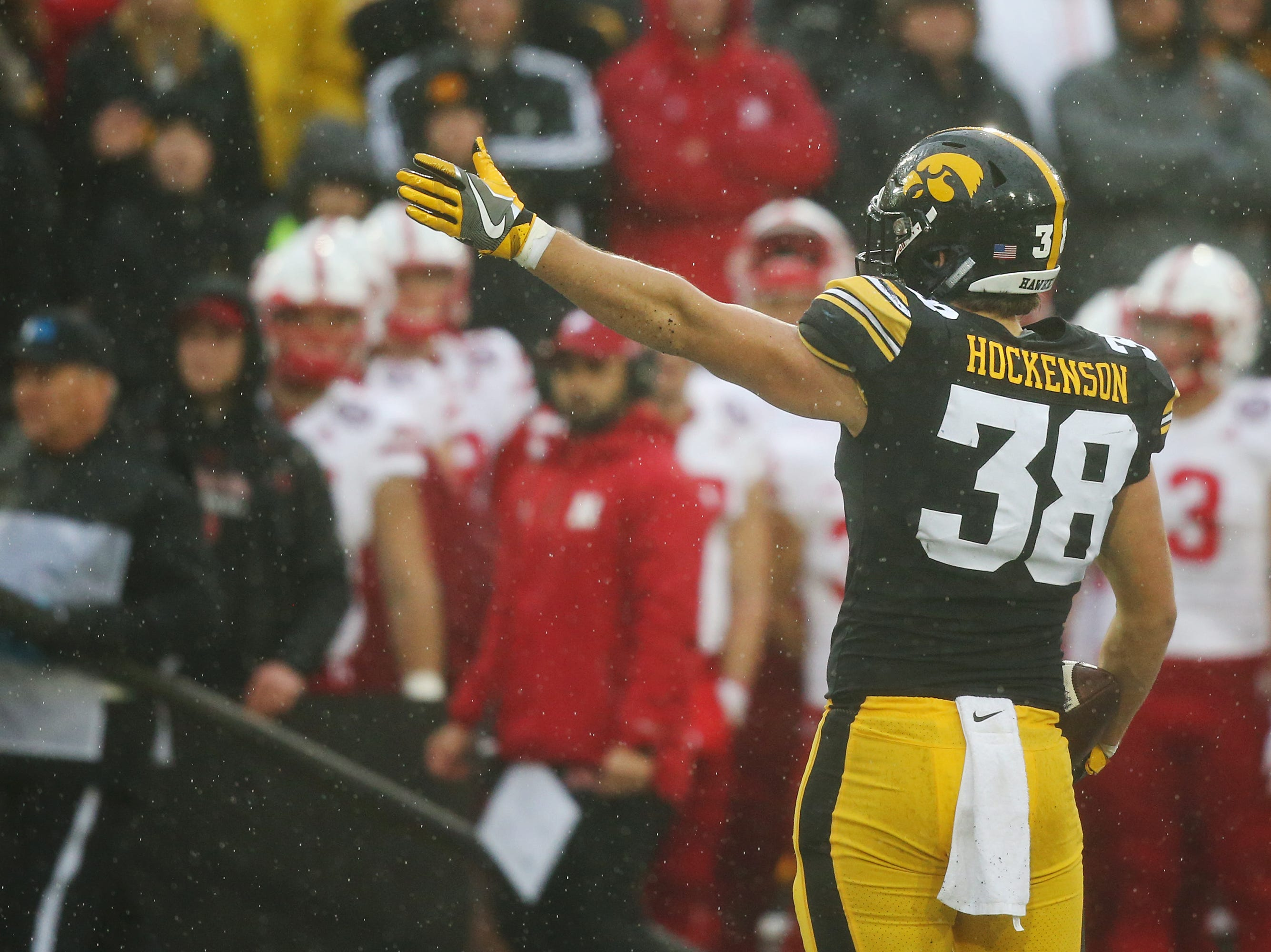 Iowa's T.J. Hockenson celebrates after catching a first down pass during the senior day match-up between the Iowa Hawkeyes and the Nebraska Cornhuskers on Friday, Nov. 23, 2018, at Kinnick Stadium, in Iowa City.