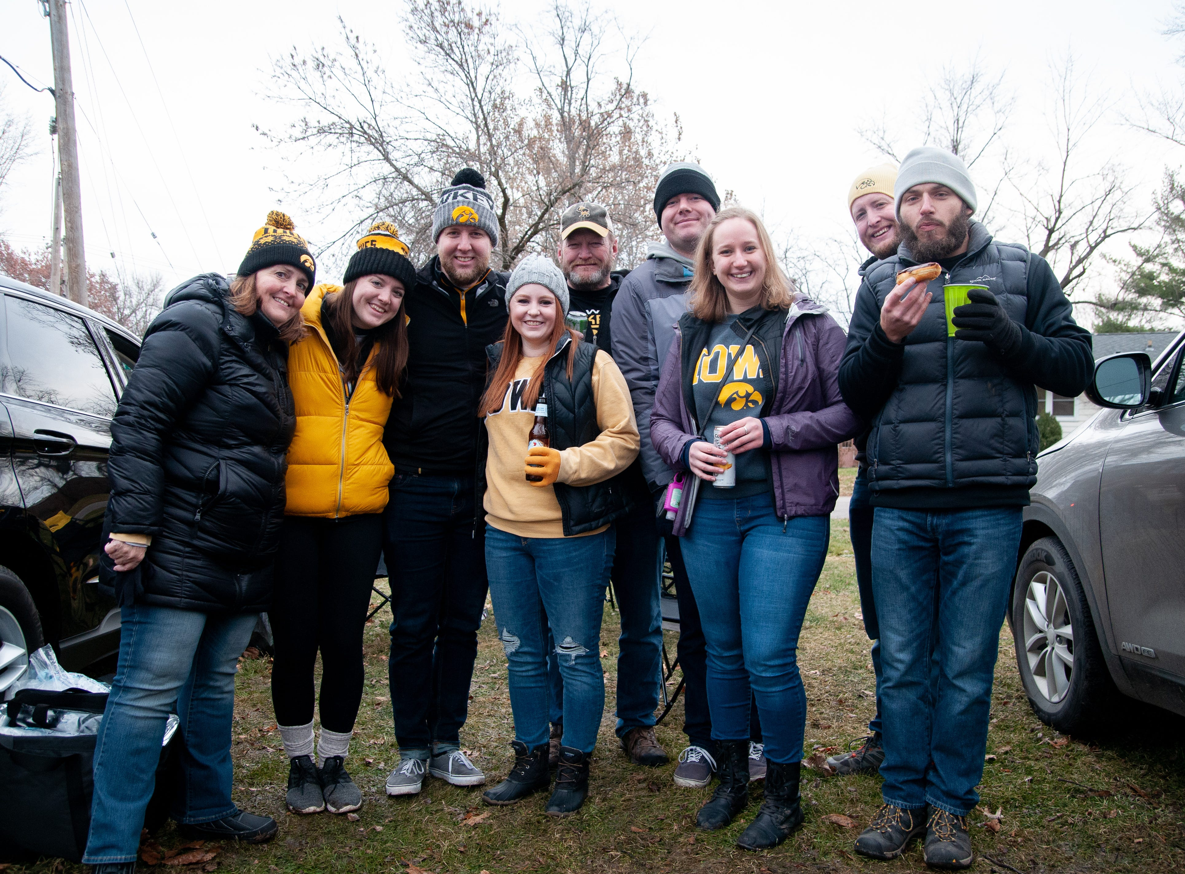 The Beals family, of Sioux City, Indianapolis and Iowa City, Friday, Nov. 23, 2018, while tailgating before the Iowa game against Nebraska in Iowa City.