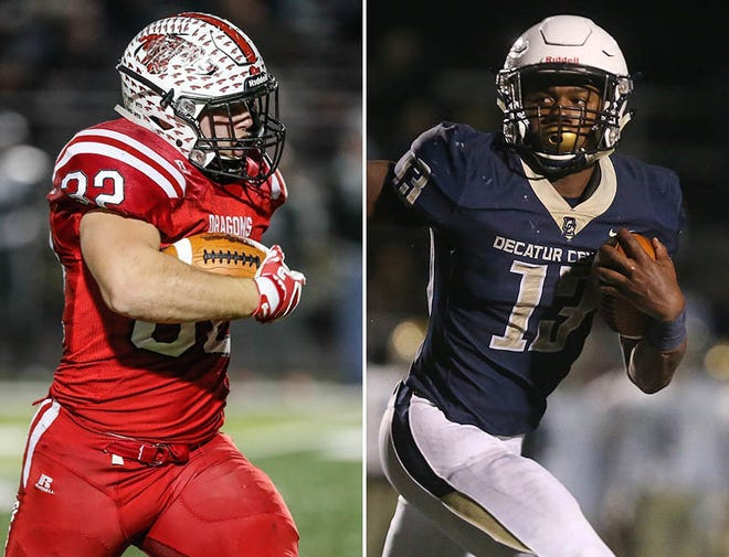New Palestine's Charlie Spegal (left) and Decatur Central's Kenny Tracy (right) can provide the fireworks in Saturday's Class 5A state title game.