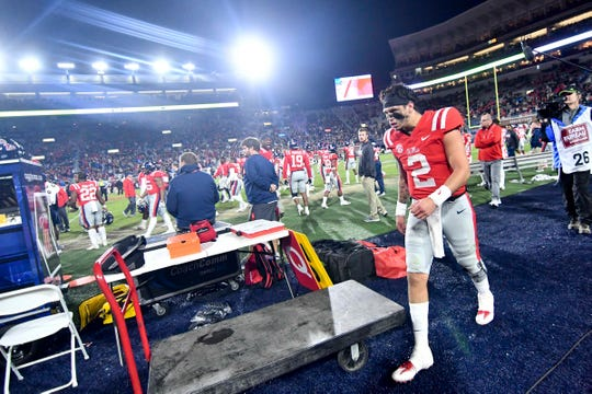 Ole Miss quarterback Matt Corral (2) reacts after his team was involved a fight against the Mississippi State Bulldogs at the end of the third quarter at Vaught-Hemingway Stadium on Nov. 22, 2018 in Oxford, Mississippi.