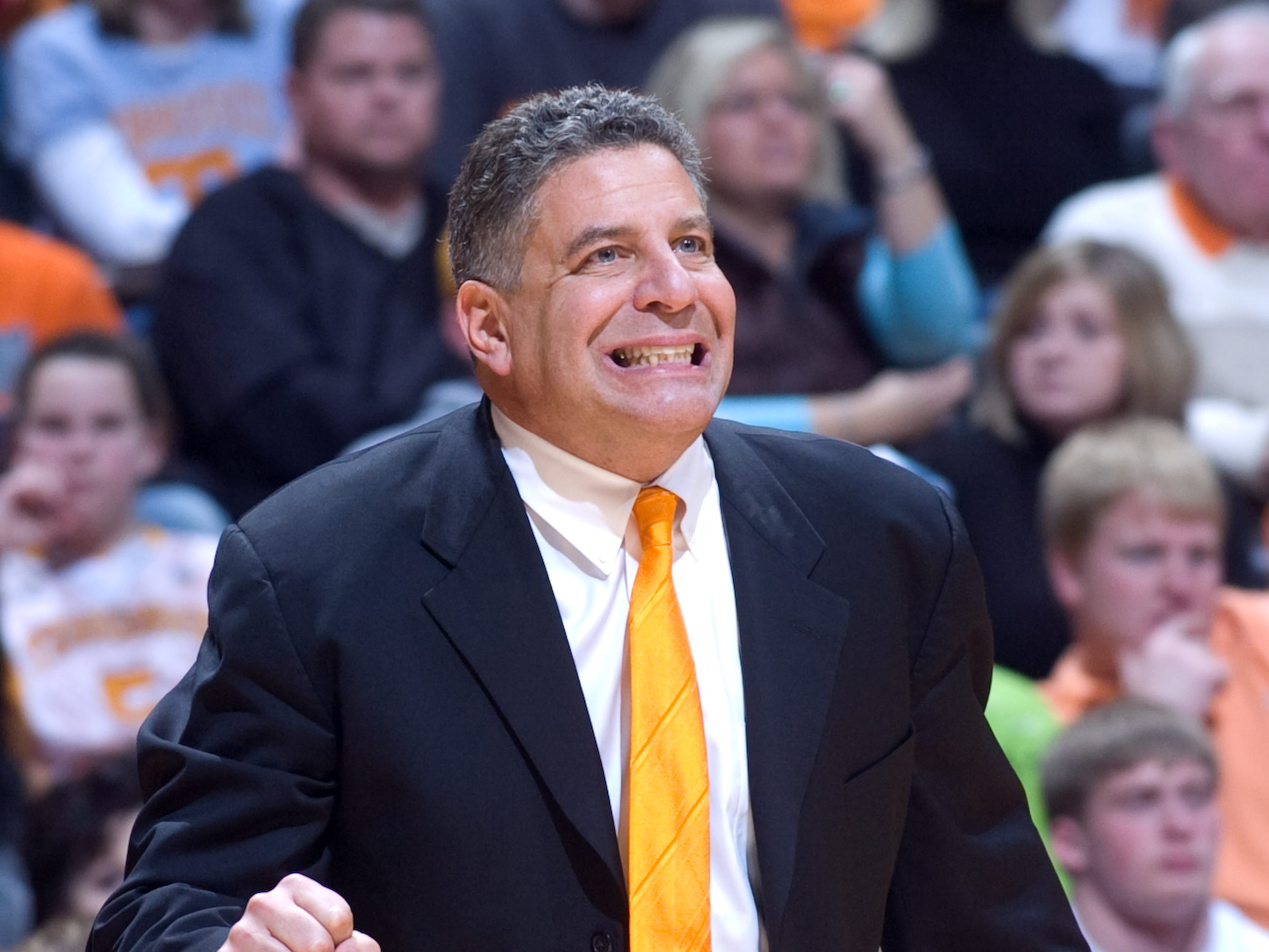 Tennessee head basketball coach Bruce Pearl reacts to a play during the game against Kansas. Tennessee upsets number one ranked  Kansas 76-68 at Thompson-Boling Arena  Sunday, Jan 10, 2010.