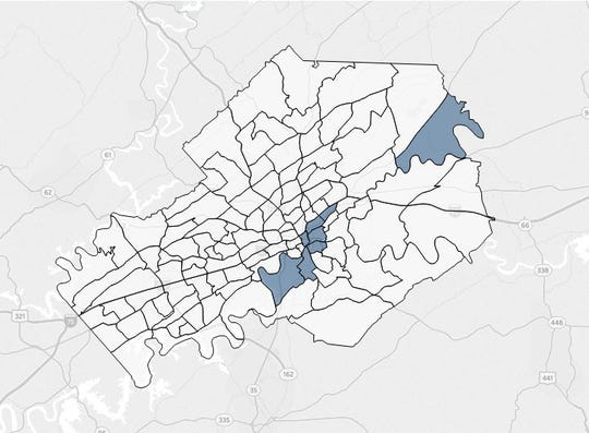 Qualified opportunity zones in Knox County, according to the Tennessee Department of Economic and Community Development.