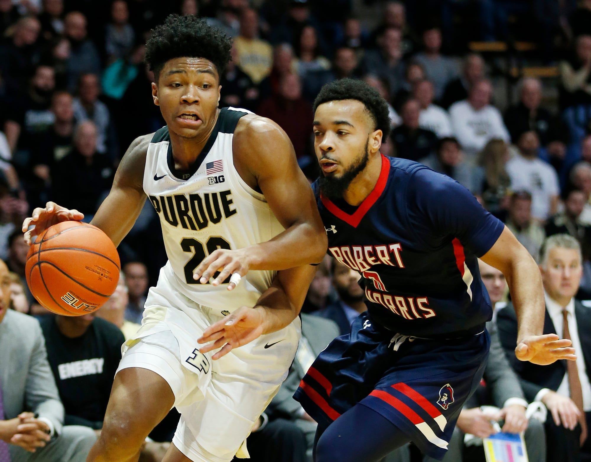 Nojel Eastern of Purdue drives the baseline against Josh Williams of Robert Morris Friday, November 23, 2018, at Mackey Arena. Purdue defeated Robert Morris 84-46.